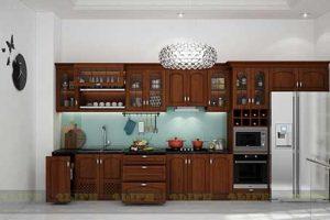 Tủ Bếp – Kệ Bếp Chất Liệu Gỗ Căm Xe TB042