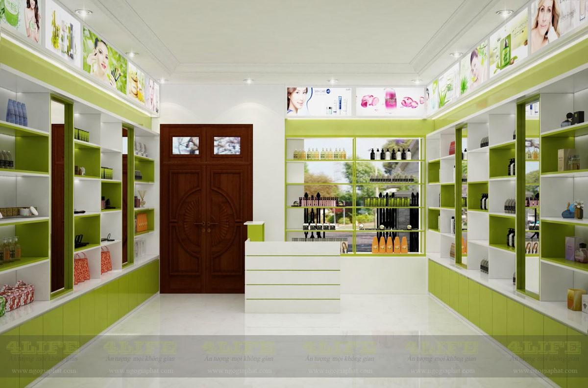 Dự án thi công nội thất shop bán mỹ phẩm