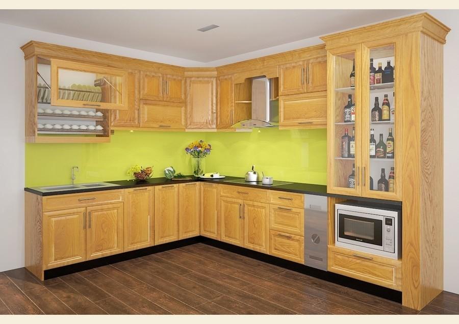 Tủ kệ bếp gỗ sồi tự nhiên