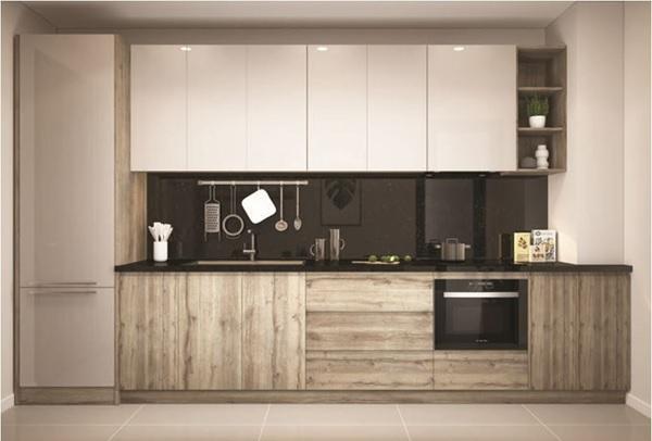 Tủ Acrylic kết hợp tủ nhựa giả gỗ giúp không gian nhà bếp thêm độc đáo