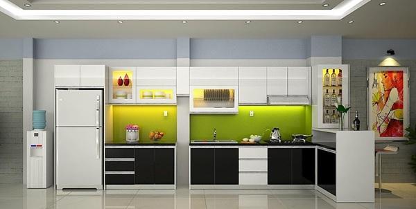 Thiết kế tủ bếp Acrylic kết hợp quầy bar cũng là một ý tưởng được lựa chọn nhiều hiện nay