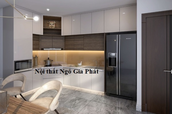 Mẫu tủ bếp Acrylic chữ L giúp tối ưu không gian nhà bếp