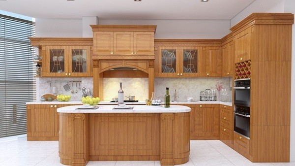 Tủ bếp gỗ sồi đỏ
