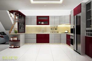 Mẫu Tủ Bếp Acrylic Bóng Gương TB012