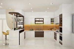 Tủ – Kệ Bếp Gỗ Acrylic Bóng Gương TB015