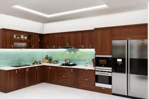 Tủ Bếp Gỗ Căm Xe Tự Nhiên TB028
