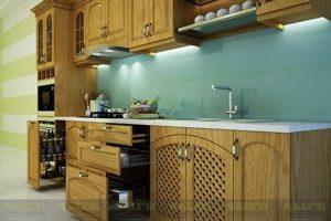 Kệ – Tủ Bếp Gỗ Sồi Tự Nhiên TB020