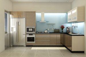 Mẫu Tủ Kệ Bếp Gỗ Acrylic Bóng Kính TB030