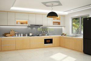 Tủ – Kệ Bếp Gỗ Veneer Và Acrylic TB018