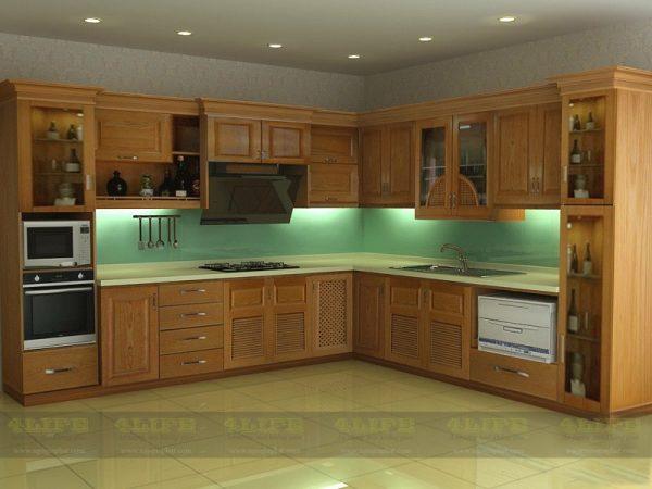 Tủ bếp gỗ gõ đỏ TB001