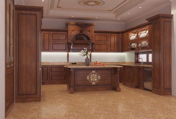Tủ bếp gỗ gõ đỏ TB026