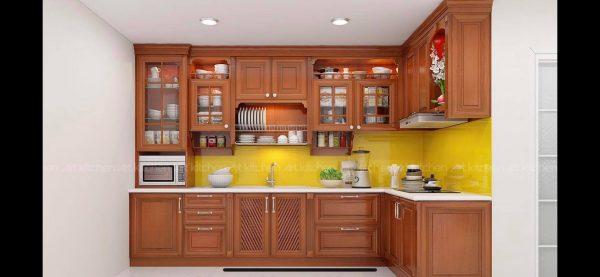 Tủ bếp gỗ gõ đỏ TB033