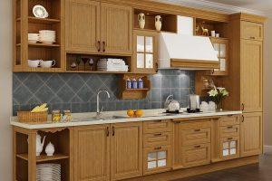 Tủ Bếp Tự Nhiên Chất Liệu Gỗ Sồi TB009