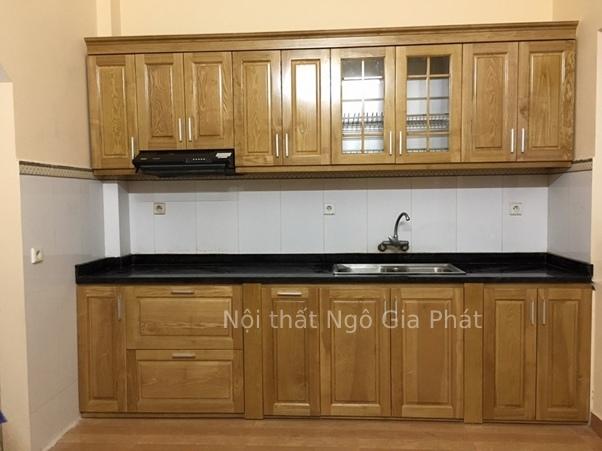 Mẫu tủ kệ bếp gỗ sồi chữ I đơn giản cho những căn bếp hạn hẹp diện tích