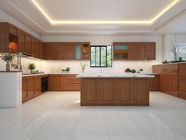 Tủ bếp gỗ gõ đỏ đẹp giá rẻ