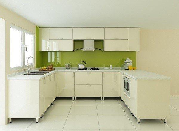 Tủ bếp gỗ MDF sơn trắng bán cổ điển sang trọng