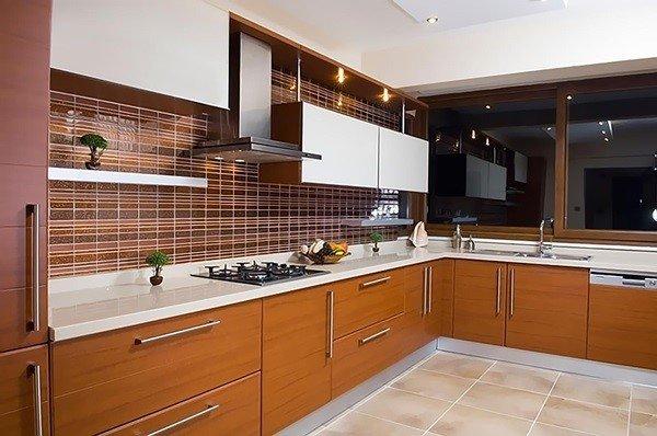 Tủ bếp gỗ MDF đơn giản nhưng tinh tế, giá tiền hợp lý