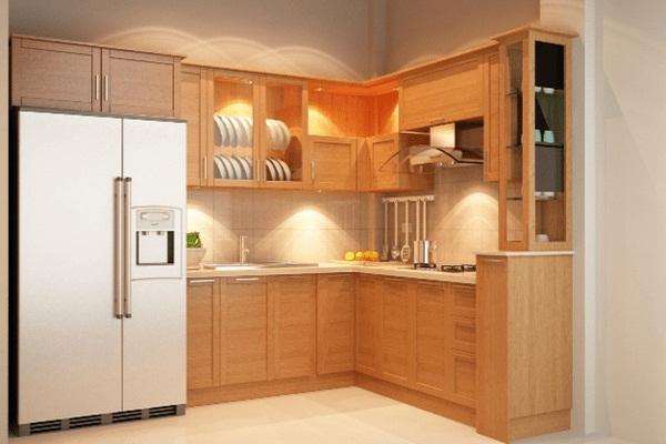 Tủ bếp treo tường được thiết kế theo hình chữ L