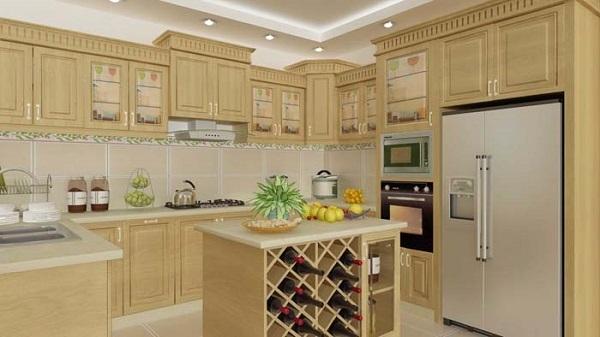 Tủ bếp được làm bằng gỗ sồi Nga