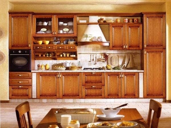 Mẫu tủ bếp được làm từ gỗ tự nhiên