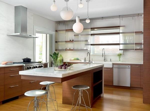 Tủ bếp bằng nhôm kính cũng rất được yêu thích