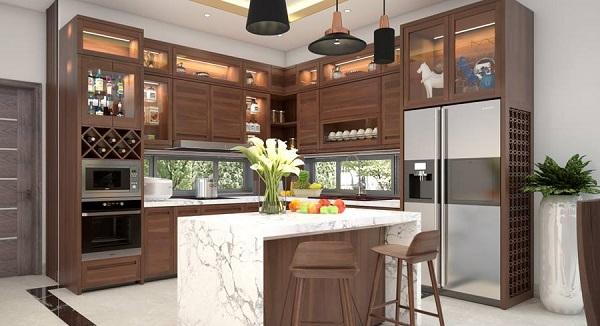 Tủ bếp thiết kế hiện đại, đẳng cấp bằng gỗ óc chó