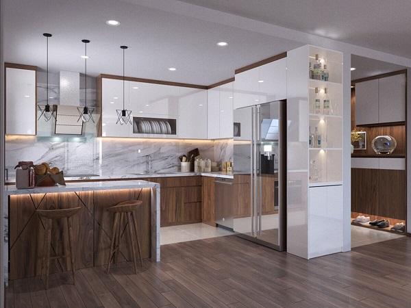 Thiết kế tủ bếp chữ U bằng gỗ óc cho tận dụng các góc của căn bếp