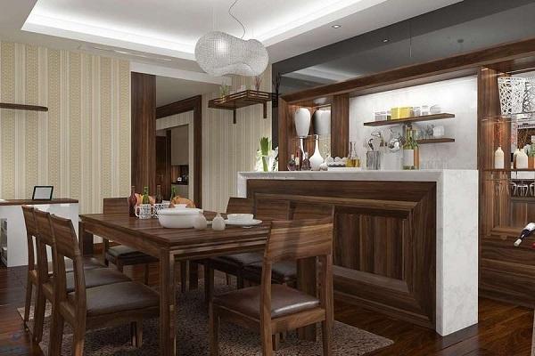 Mẫu tủ bếp đẹp bằng gỗ óc chó sang trọng, thiết kế đơn giản