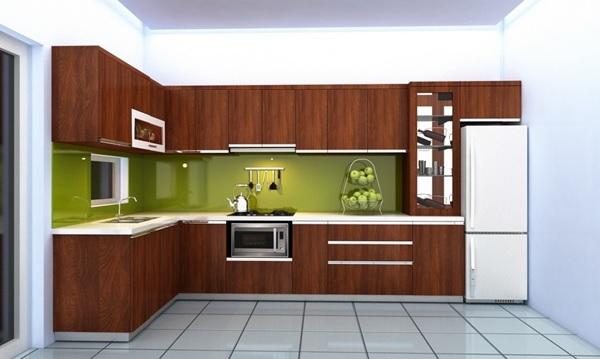 Tủ bếp gỗ tự nhiên hình chữ L