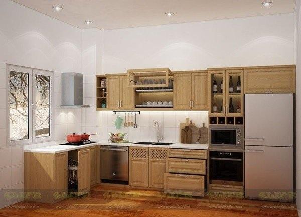 Tủ bếp bằng gỗ tự nhiên đẹp, cao cấp chữ L
