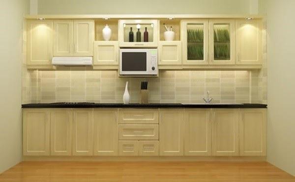 Sử dụng tủ bếp gỗ sồi sáng màu giúp không gian nhà bếp được rộng thoáng hơn