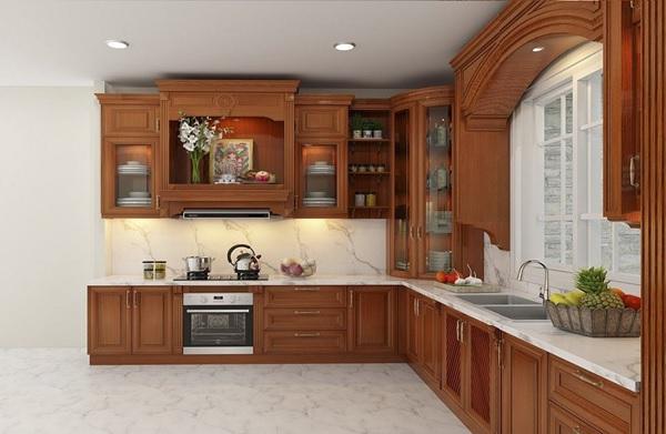 Tủ bếp gỗ sồi tự nhiên được thiết kế theo phong cách cổ điển