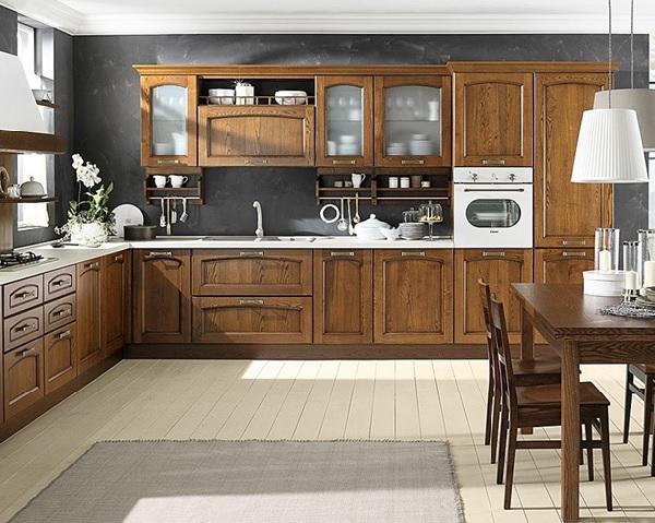 Mẫu tủ bếp được làm bằng gỗ sồi Nga bền đẹp, sang trọng