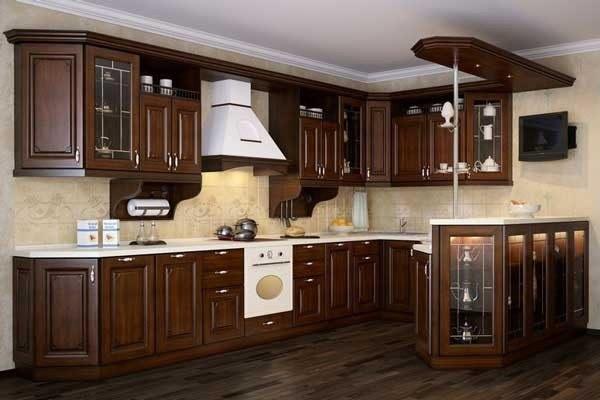 Tủ bếp gỗ óc chó thiết kế đơn giản