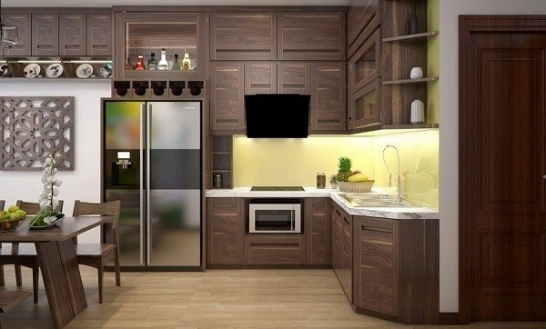 Tủ bếp gỗ óc chó giúp cho không gian nhà bếp thêm sang trọng