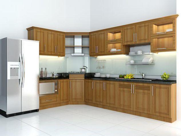 Tủ bếp gỗ thiết kế đơn giản không quá nhiều họa tiết, cấu tạo cầu kì
