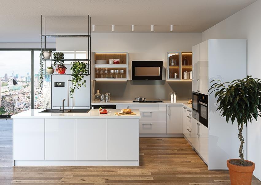 Tủ bếp đơn giản ưu tiên chọn tone màu trắng sáng, giúp không gian rộng rãi, thoáng mát hơn.