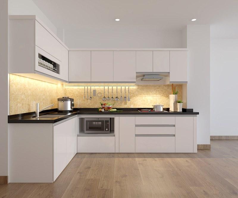 Sử dụng tone màu trắng trong lắp đặt tủ bếp, tạo cho không gian rộng rãi, thông thoáng hơn.
