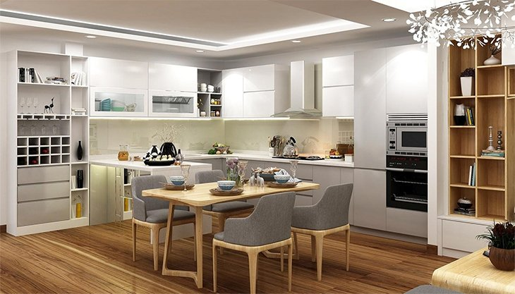Nội thất bếp gia đình được trang bị tùy vào nhu cầu sử dụng của gia đình